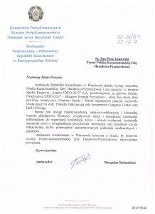 pismo Ambasada Kazachstanu